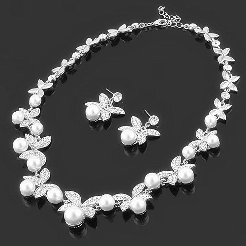 18 KGP Wedding Vintage Style Quality Swarovski Crystal Pearl Necklace Earring sets,Bridal jewelry sets,Bridesmaid Jewelry sets 602FT020 on Etsy, $29.99