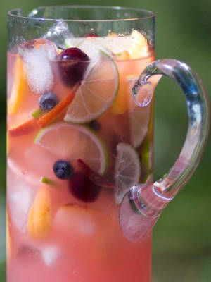 Summer Sangria...Moscato Wine, Triple Sec, Peaches, Limes, Apple, Lemon, Orange, Blueberries, and Cherries.