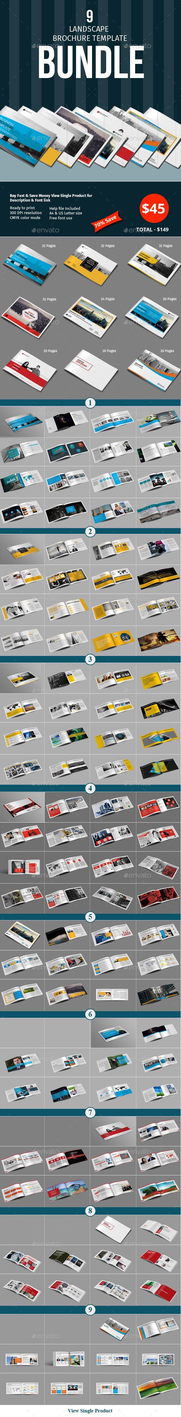 9 Lanscape Brochure Template Bundle - InDesign INDD