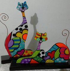 gatos pintados en madera country - Buscar con Google