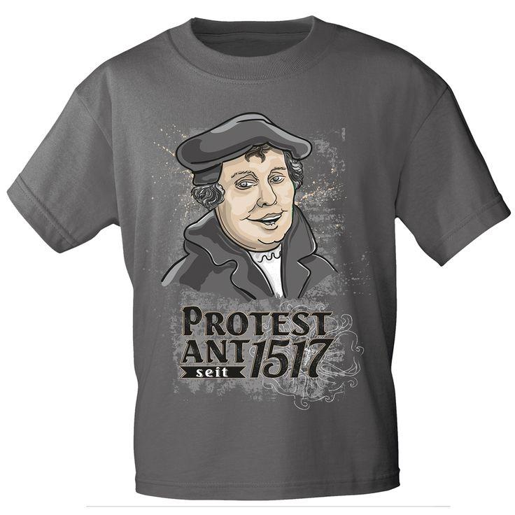 T-Shirt, anthrazitgrau, mit Aufdruck Martin Luther - PROTESTANT seit 1517