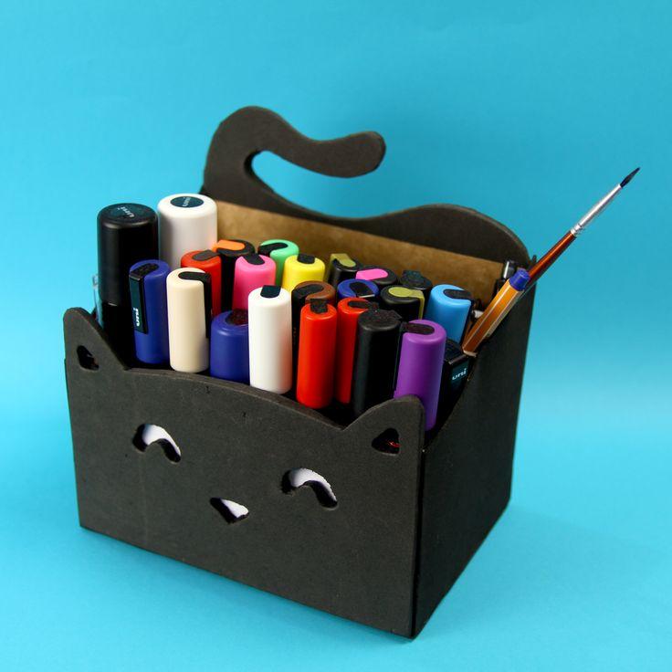 Organizador ou Porta treco de gatinho Kawaii, ideal para organizar