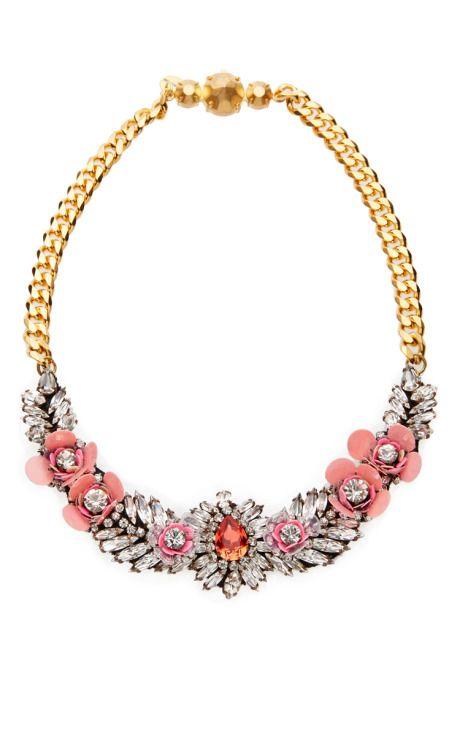 designer: Shourouk details here: Shourouk Flower Crystal-Embellished Necklace Pink