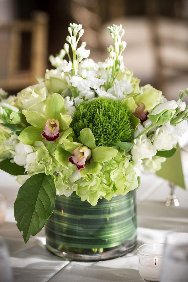 Natural green & white centerpiece