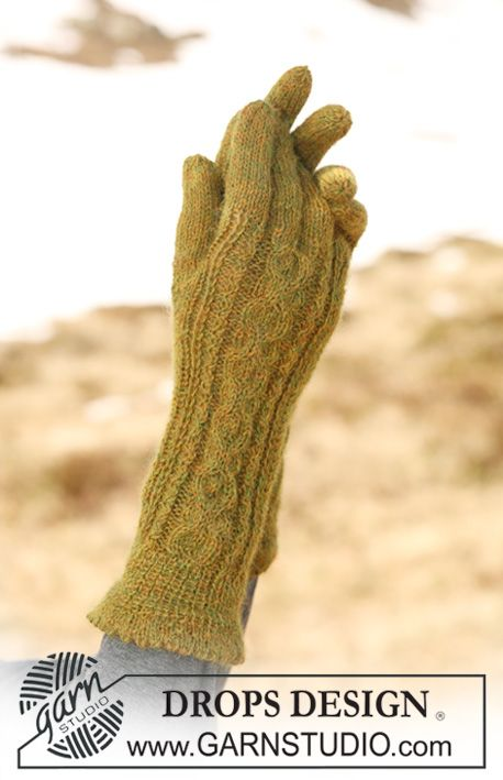 "DROPSi palmikutega sõrmikud lõngast ""Alpaca"". ~ DROPS Design"