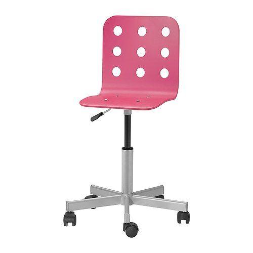 IKEA - JULES, Sedia da scrivania, rosa/color argento, , Ti offre una seduta confortevole grazie all'altezza regolabile.