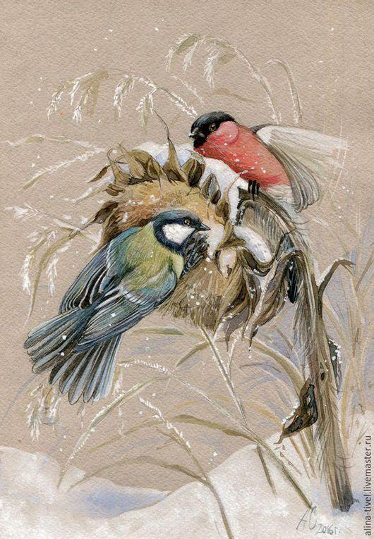 """Water color painting / Животные ручной работы. Ярмарка Мастеров - ручная работа. Купить Акварель """"Иней"""". Handmade. Комбинированный, подсолнух, мороз, травы, акварель"""