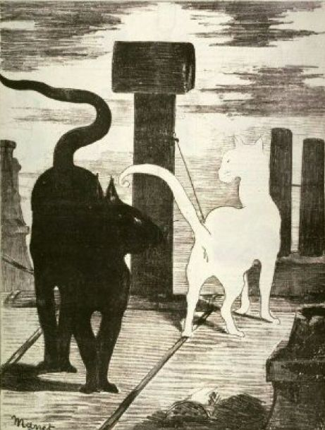 Pour la #photo du #lundi du #Blog #GymYoga: Le Rendez-vous des chats de #Manet, 1868. http://blog.gym-yoga.fr/le-rendez-vous-des-chats-de-manet/