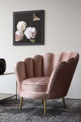 Rose Pink Velvet Petal Armchair | furnishings in 2019 | Velvet ...