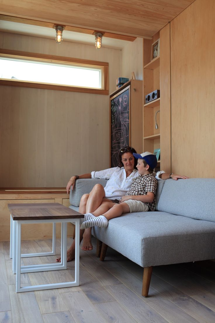 Modern Tiny House with Secret Ceiling Bed and Remote Control Gull-wing Door!