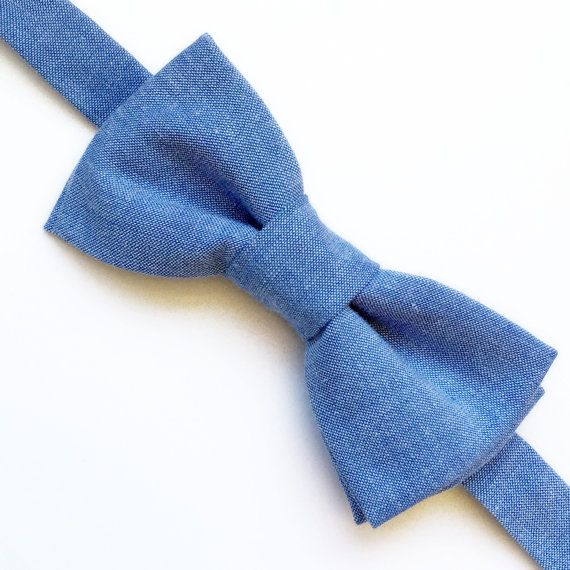 Blue Linen Bow tie  Blue Bow tie  Mens Bow by FlyTiesforFlyGuys