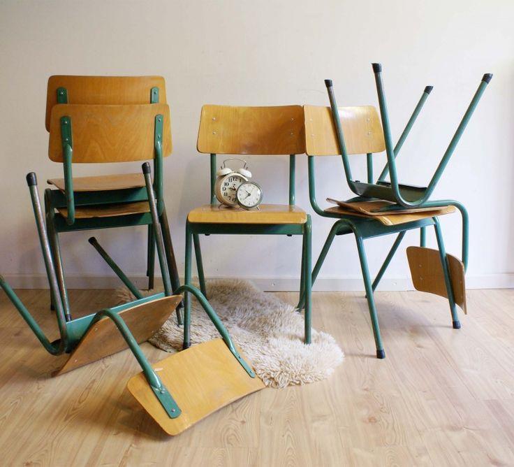 Vintage schoolstoel, industriële hout/metalen stoelen, 6 x