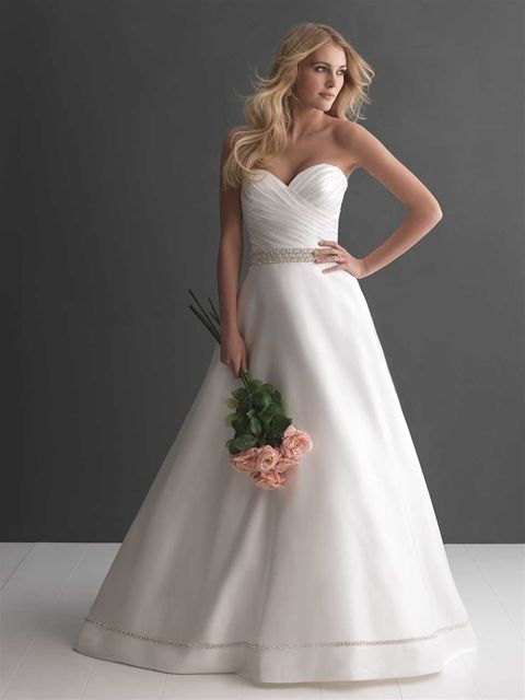 Allure Bridals: Style: 2665 An exquisite ball gown in rich, soft satin. The strapless bodice features a sweetheart neckline, delicate ruching, and Swarovski crystals at the waistline.