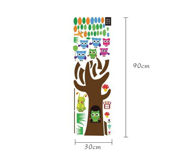 Owl Tree Pattern Removable Design Wall Sticker Multicolor.  Fashionable with passion REPIN if you like it.😍 Only 64.5 IDR