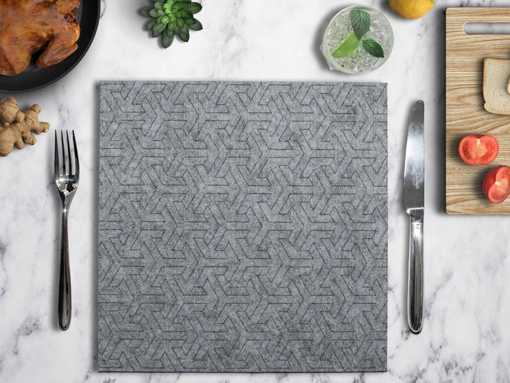 Gray Felt Square Placemat, Geometric Fabric Placemat, Rectangle Table Linen  Tablecloth Dinner Table,