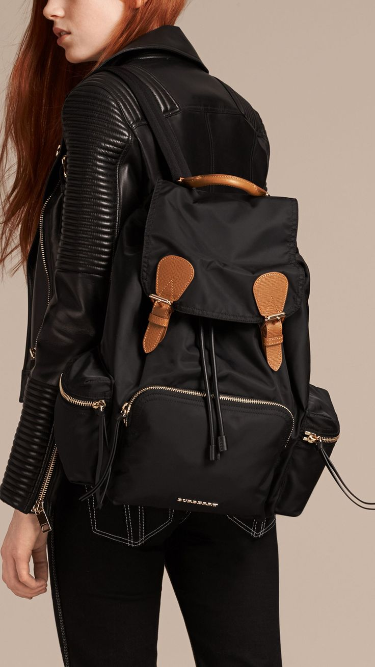 The Large Rucksack in Technical Nylon and Leather Black   Burberry