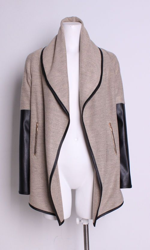 Joseph Ribkoff Beige Cover Up with Black Faux Leather Accents - Bella Funk Boutique