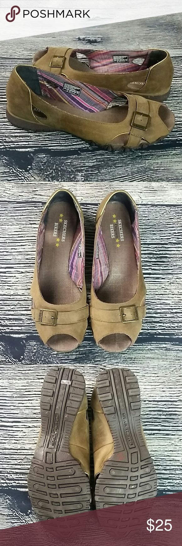 Skechers Bikers Originals brown flats Skechers Bikers Originals brown flat sandals open toe shoes  Size 9.5 Excellent condition besides on bottom of left shoe tried to get the gum off - some residue remains - should come off with some wear Skechers Shoes Flats & Loafers