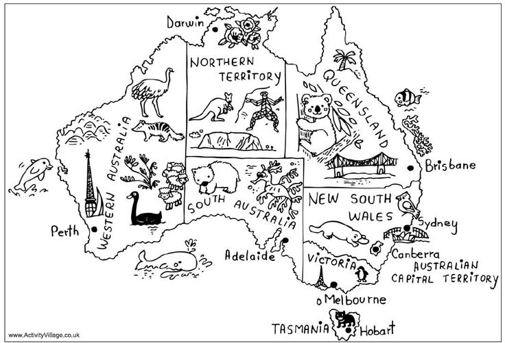 Australian Map with animals and highlights
