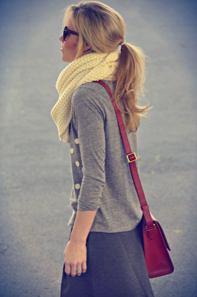 Yellow scarf with an outfit of various shades of grey.