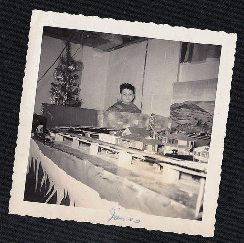 Antique-Vintage-Photograph-Litle-Boy-By-Christmas-Tree-Cool-Train-Set