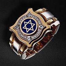 """Перстень мужской квадрифолий """"Звезда Давида"""" из комбинированного золота 750 пробы (арт. 22125)"""