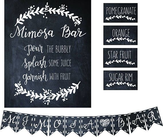 Printable MIMOSA BAR KIT  sign flags buffet cards Hand