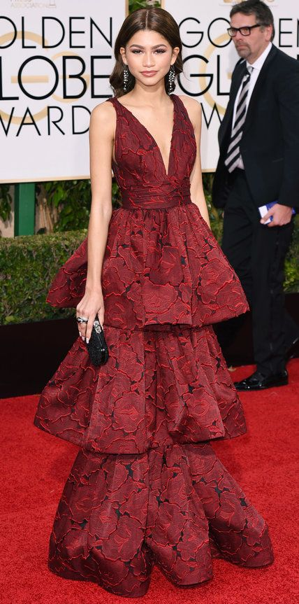 2016 Golden Globes Red Carpet Arrivals - Zendaya in marchesa gown, Yoko London and Lydia Coutielle jewelry
