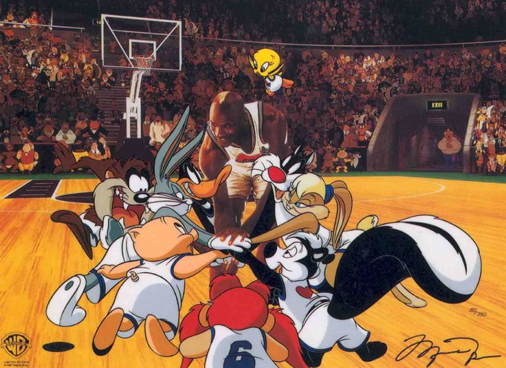 """In """"Toon Squad"""" Michael Jordan gathers the team together for a pep talk before going back on the court from the 1966 Space Jam. This live action/animated film starred all your favorite Looney Tunes and legendary basketball great Michael Jordan. Featured Characters: Michael Jordan, Bugs Bunny, Daffy Duck, Lola, Tweety, Sylvester, Yosemite Sam, Pepe Le Pew, Porky Pig and Tasmanian (Taz) Devil. This cel is signed by Michael Jordon."""