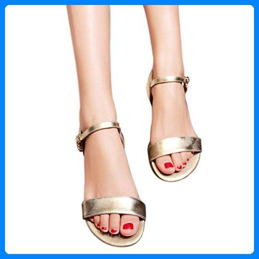 EKS Damen Leder Sandalen Flats Fersen Casual Sommer Ankle Strap Sandals Schuhe Gold 40 CN - Sandalen für frauen (*Partner-Link)
