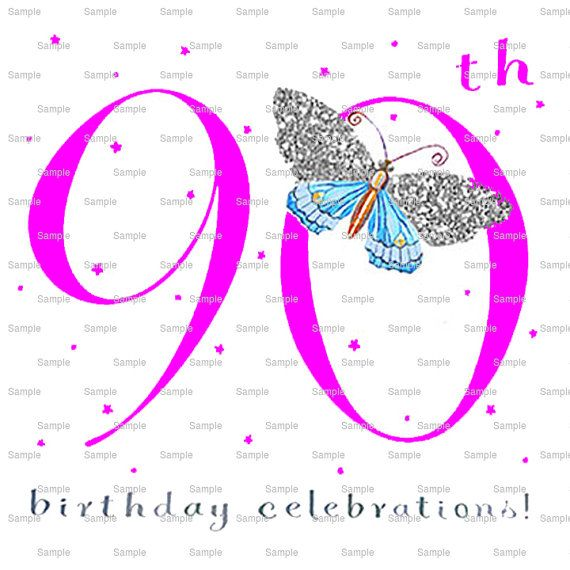 Pink Happy 90th Birthday Cake Background - Edible Cake and Cupcake Topper For Birthday's and Parties! - D10034