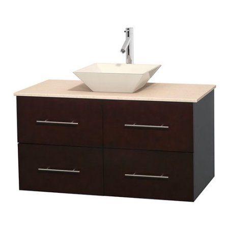 Wyndham Collection Centra 42 inch Single Bathroom Vanity in Espresso, Ivory Marble Countertop, Pyra Bone Porcelain Sink, and No Mirror, Beige