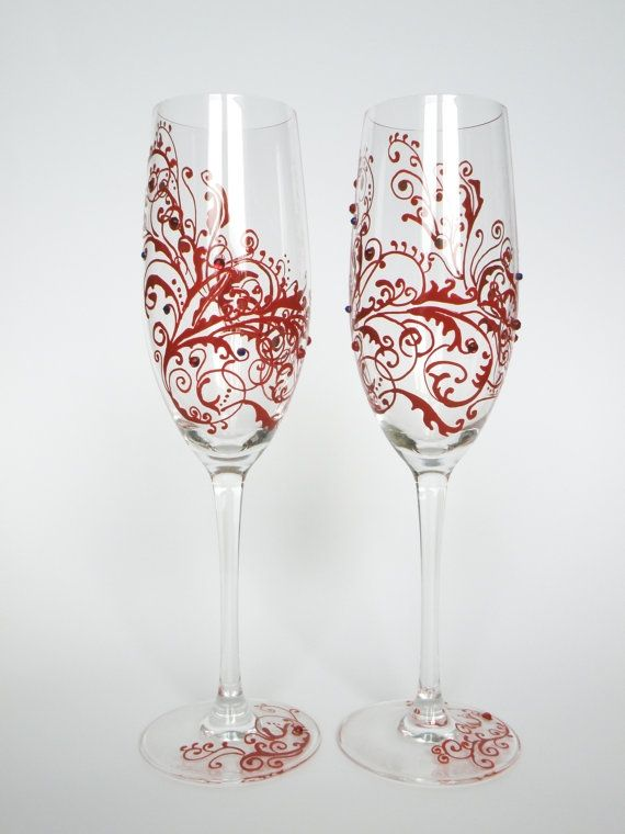 Hand painted Wedding Toasting Flutes Set of 2 Personalized Champagne glasses Red ornaments with crystals by ginta.barisa