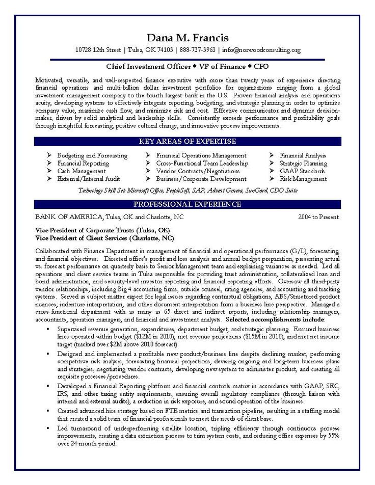 Financial Resumes Examples Chief Financial Officer Resume Sample