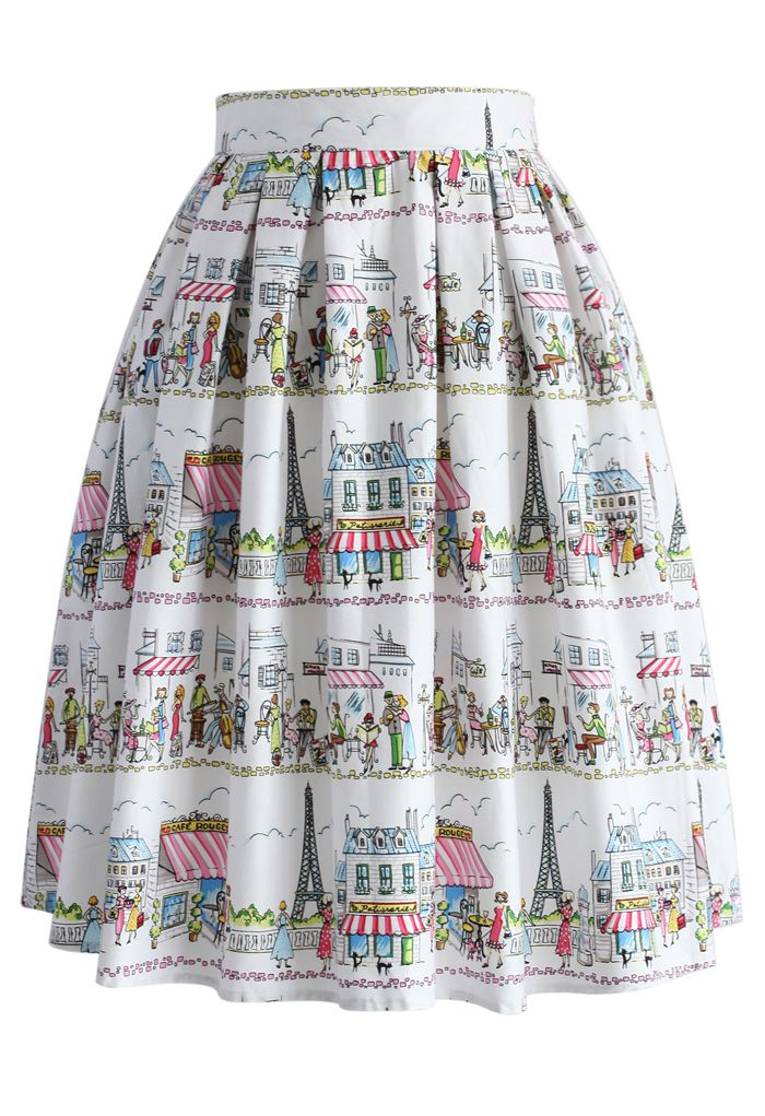 A Date in Paris Pleated Skirt - Retro, Indie and Unique Fashion Chicwish, LOVE LOVE LOVE