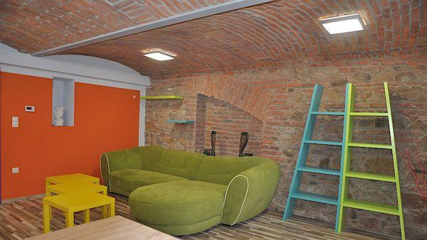 Podzemní byt má jedinečnou atmosféru, na níž mají lví podíl přiznané cihlové zdi…