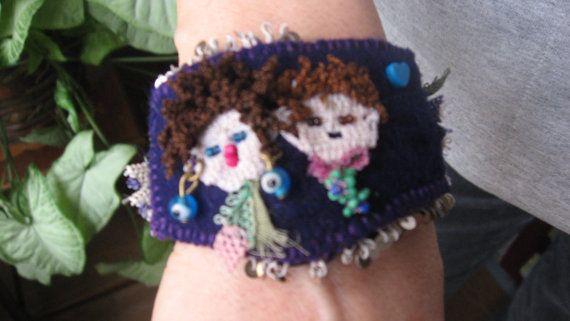 Deep purple felt braceletfelted wrist cuffoya on felt by CiciByMuy, $15.00
