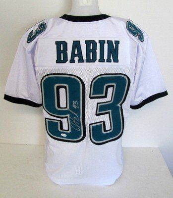 Jason Babin Signed Philadelphia Eagles White Jersey JSA . $129.27. Featured is a Jason Babin Autographed White Custom Jersey. Babin is a star defensive end for the Philadelphia Eagles. This jersey was hand-signed by Babin and includes JSA hologram and matching COA. The jersey is a size L and features sewn name and numbers. Babin was an All-Pro in 2012.