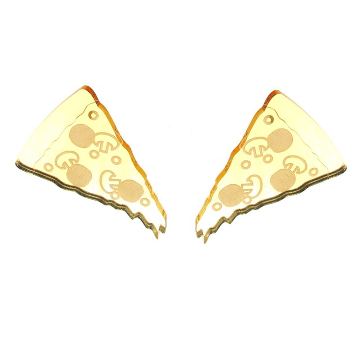 "Oh, yummy for my...ears?! These XL pizza slices measure about 2"" long and hang at a jaunty angle, dripping a little cheese on the shoulders. Mirror gold acrylic"