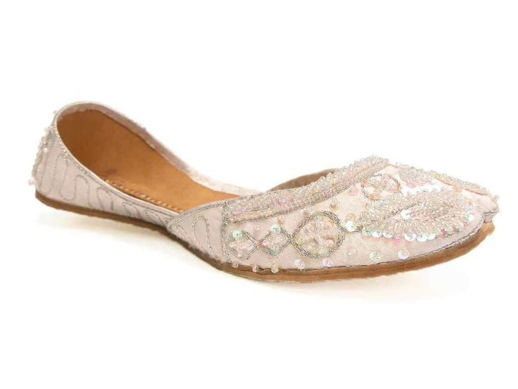 Cool Silvery White Khussa Indian Wedding Bridal Flats Prom Quinceanera Shoes 8