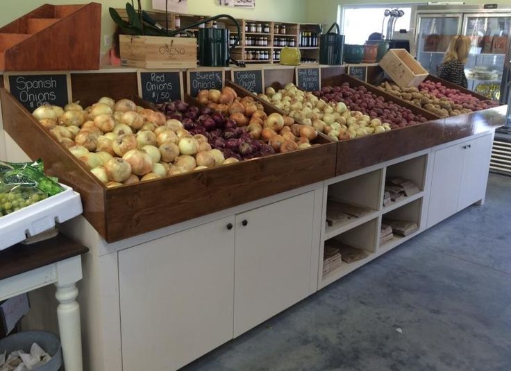 Rustic wood farm market produce bins display fruit vegetables organic sales retail fixture. http://jbrothersandcompany.com