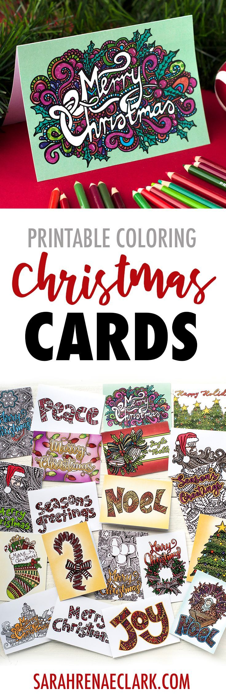 Color your own Christmas cards! 20 Printable coloring templates| Find more Christmas printable activities and coloring pages at www.sarahrenaeclark.com/christmas