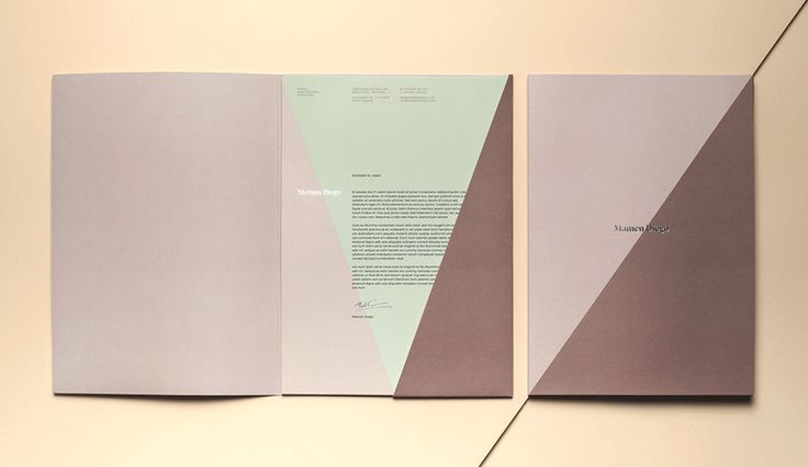 Visual identity, folder and headed paper by graphic design studio Atipo for Spanish architecture and interior design firm Mamen Diego.