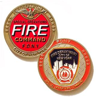 NEW! #FDNY Special Operations Command Challenge Coin. This beautiful FDNY Commemorative Coin is a stunning tribute to the FDNY Special Operations Command (S.O.C.). Comprised of Rescue Companies, Squads, Marine Rescue and Haz-Mat these units respond to unique or highly critical situations. Officially Licensed and an NYFirestore Exclusive, Size: 1.75 Inch Diameter Die Struck Metal w/ Enamel Details Finish: Antique Brass Reeded Edge