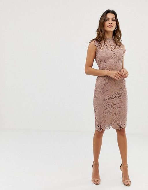 paper dolls paper dolls high neck lace midi dress in taupe beige