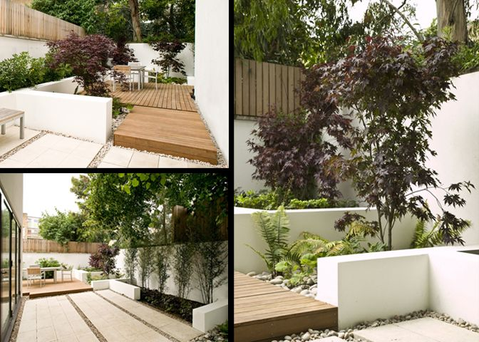 simple contemporary deck with white rendered walls and simple planting - Modular - London Garden Design and Installation - Garden Design Gallery