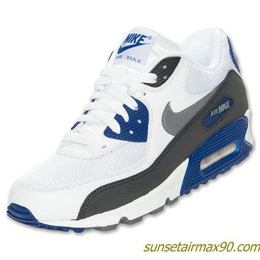 19b9b8647c55 Nike Air Max 90 Essential Mens White Cool Grey Deep Royal Blue 537384 104