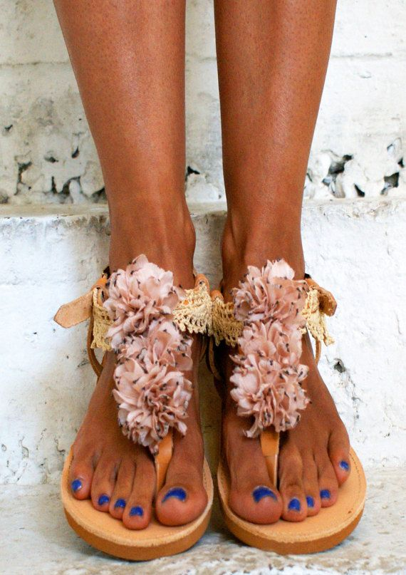Romantic Sandals/ T-strap Sandals/ Flower sandals/ by magosisters