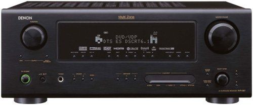 Denon AVR-887 7.1-Channel Home Theater Receiver 7.1-channel home theater receiver with 700 watts of total power; meaxures 17.1 x 5.8 x 16.4 inches (WxHxD). 100 watts at 8 ohms across seven amplifier channels. Auto Setup feature precisely balances speaker levels and fine-tunes the delay settings (microphone included). HDMI connections (2 in, 1 out) provide video up/down conversion. Surround modes: ... #Denon #Receiver_or_Amplifier