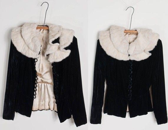 perfect jacket. #vintage #rabbittrim #black #velvet #jacket